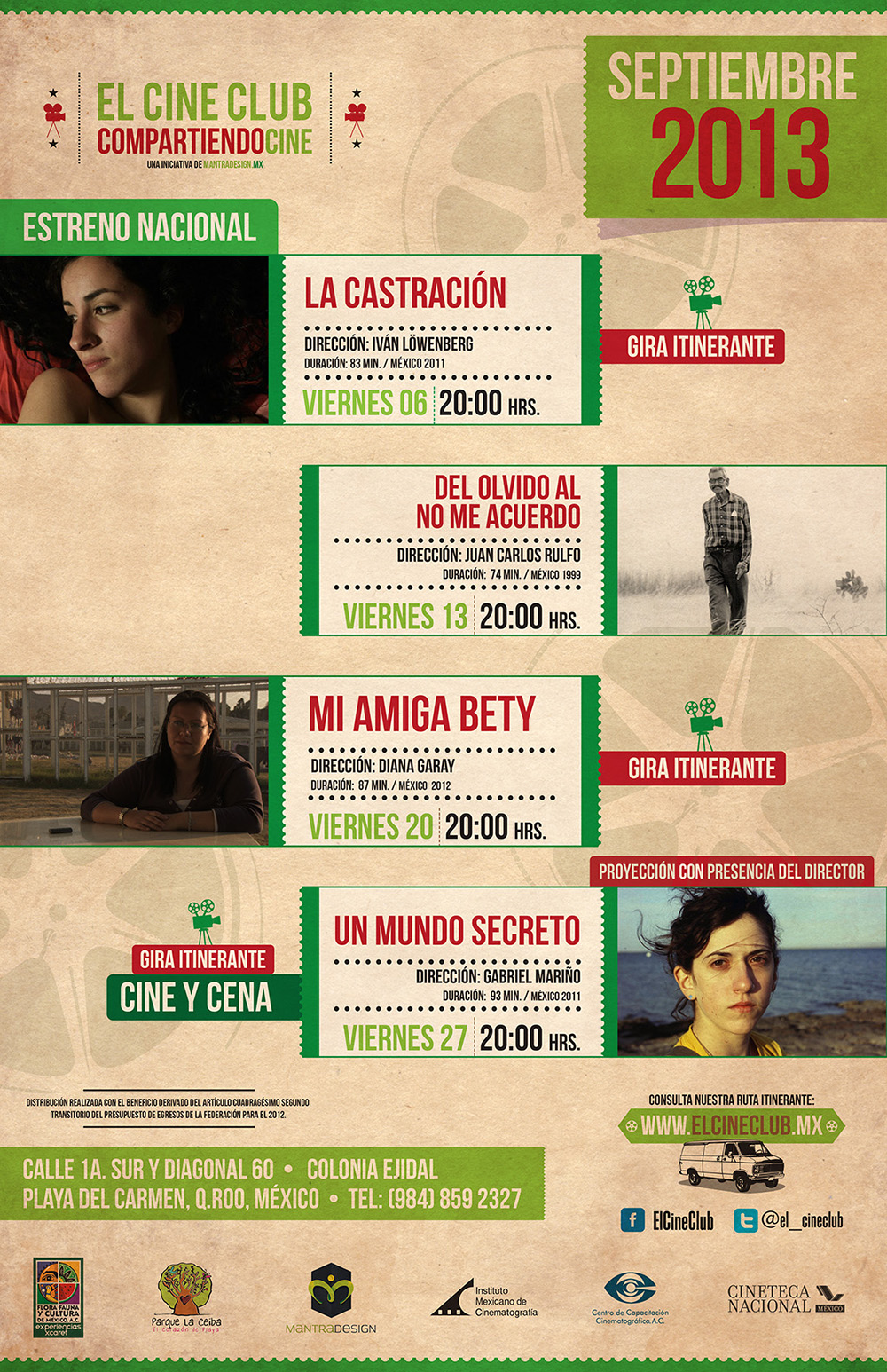 Cartelera El Cine Club Septiembre @ Playa del Carmen