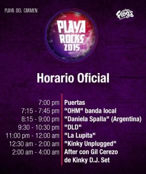 Horarios- playa Rocks 2015 - Playa del Carmen