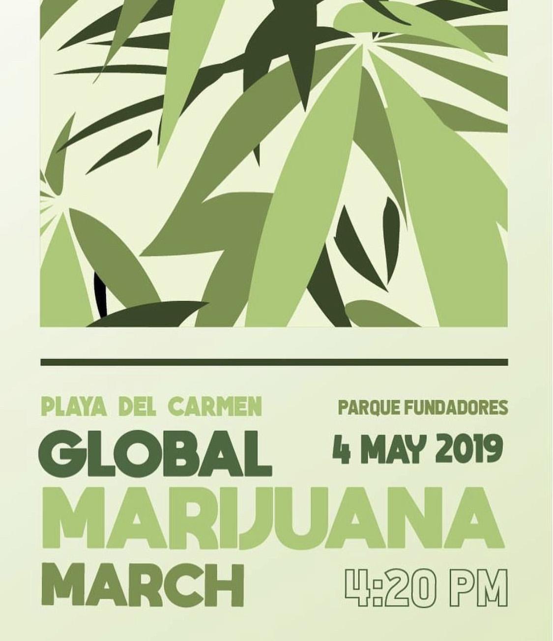 Marcha global de la marihuana en playa del Carmen